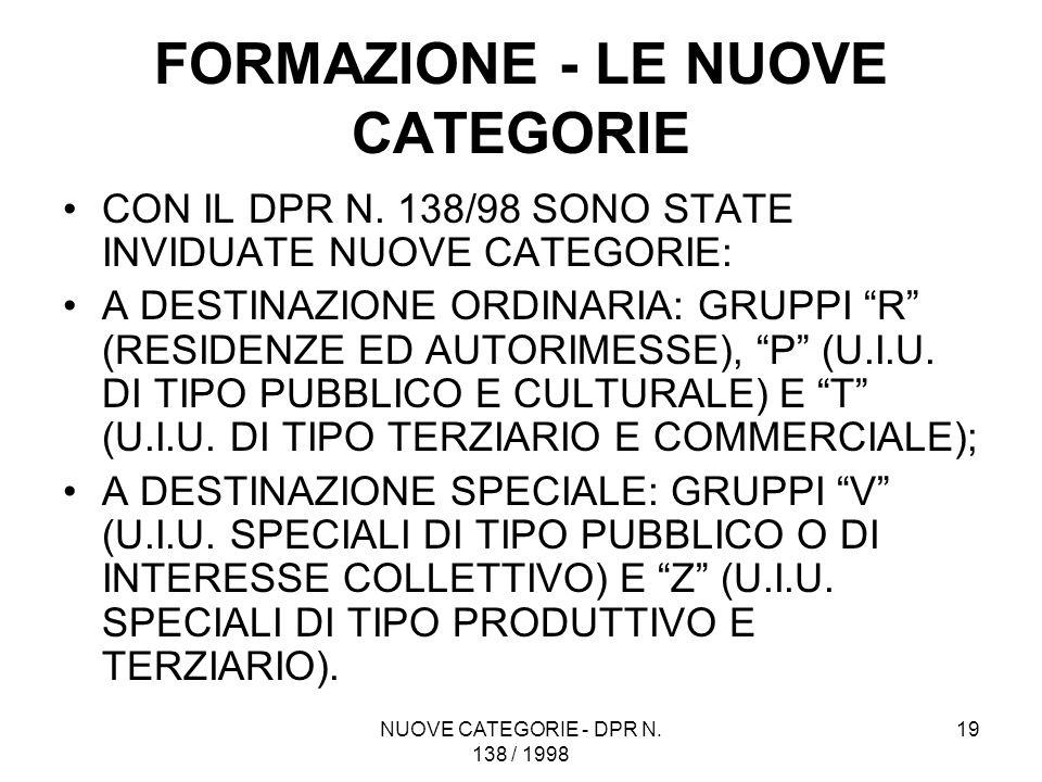 NUOVE CATEGORIE - DPR N. 138 / 1998 19 FORMAZIONE - LE NUOVE CATEGORIE CON IL DPR N. 138/98 SONO STATE INVIDUATE NUOVE CATEGORIE: A DESTINAZIONE ORDIN