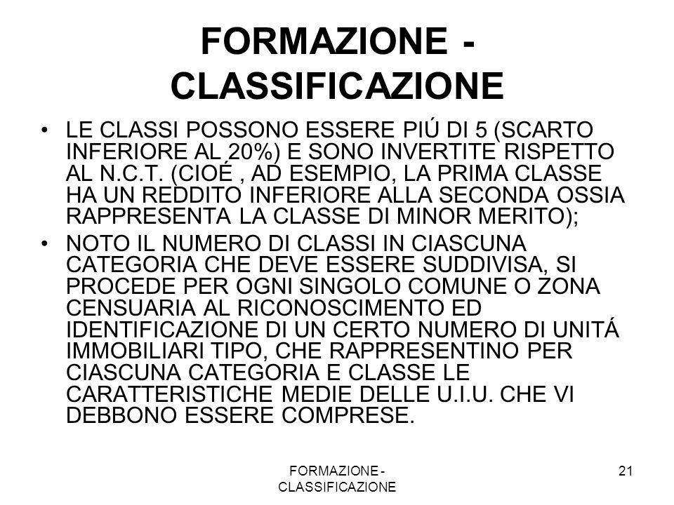 FORMAZIONE - CLASSIFICAZIONE 21 FORMAZIONE - CLASSIFICAZIONE LE CLASSI POSSONO ESSERE PIÚ DI 5 (SCARTO INFERIORE AL 20%) E SONO INVERTITE RISPETTO AL