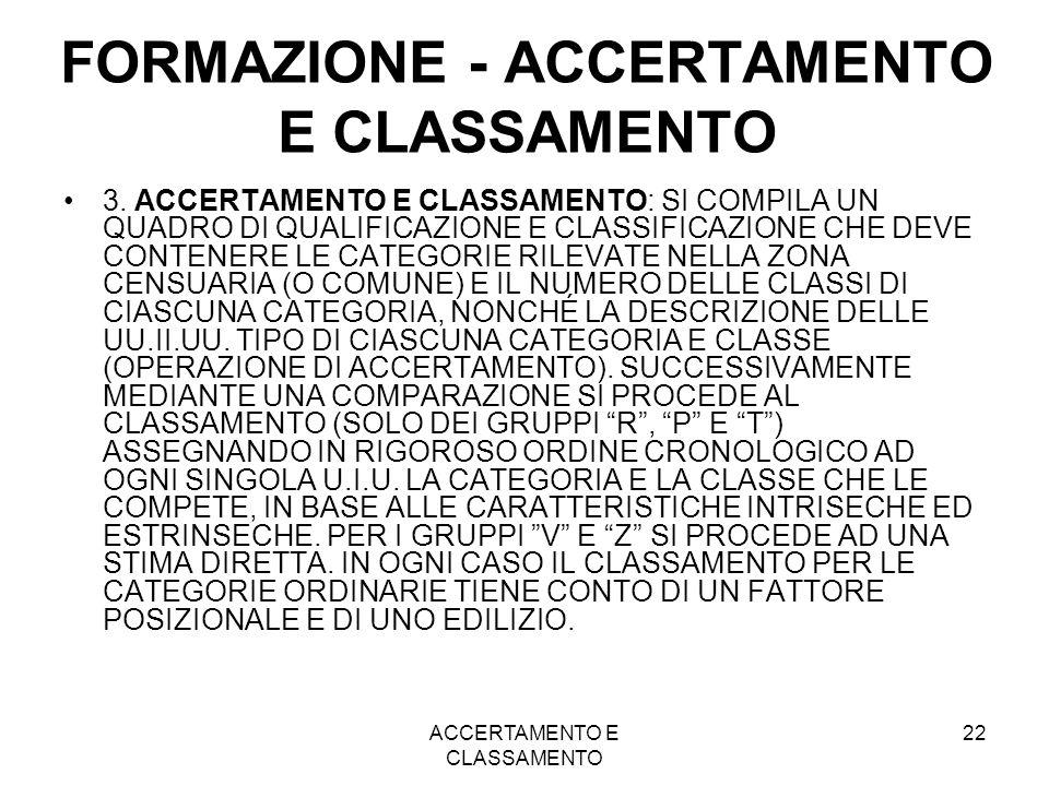 ACCERTAMENTO E CLASSAMENTO 22 FORMAZIONE - ACCERTAMENTO E CLASSAMENTO 3. ACCERTAMENTO E CLASSAMENTO: SI COMPILA UN QUADRO DI QUALIFICAZIONE E CLASSIFI