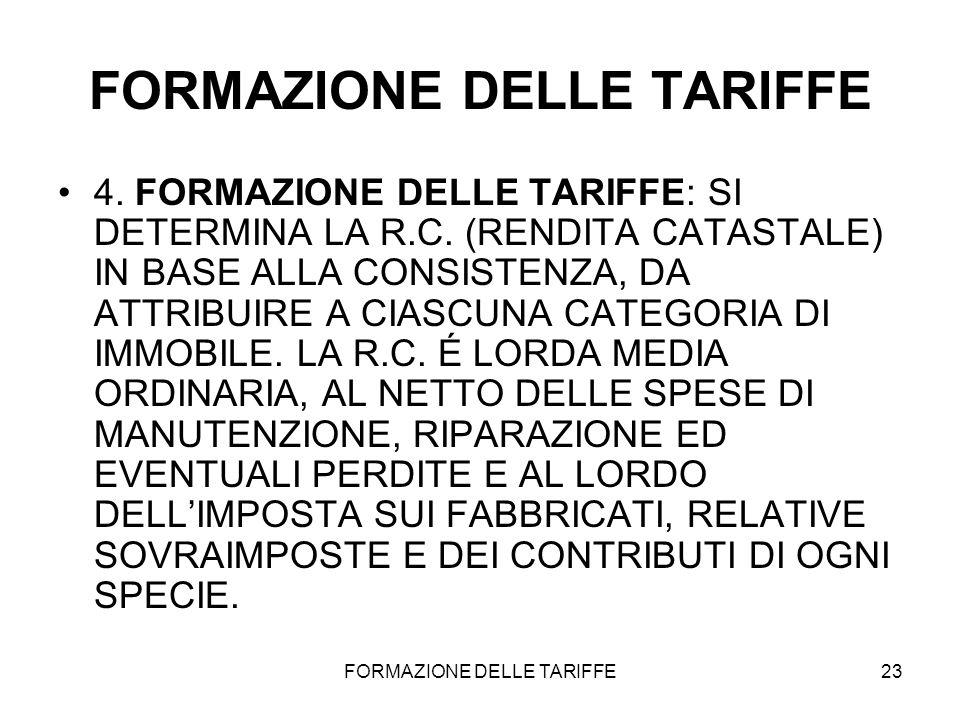 FORMAZIONE DELLE TARIFFE23 FORMAZIONE DELLE TARIFFE 4. FORMAZIONE DELLE TARIFFE: SI DETERMINA LA R.C. (RENDITA CATASTALE) IN BASE ALLA CONSISTENZA, DA