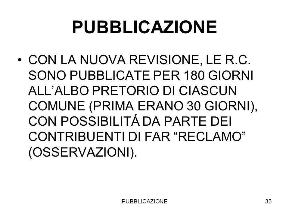 PUBBLICAZIONE33 PUBBLICAZIONE CON LA NUOVA REVISIONE, LE R.C. SONO PUBBLICATE PER 180 GIORNI ALLALBO PRETORIO DI CIASCUN COMUNE (PRIMA ERANO 30 GIORNI