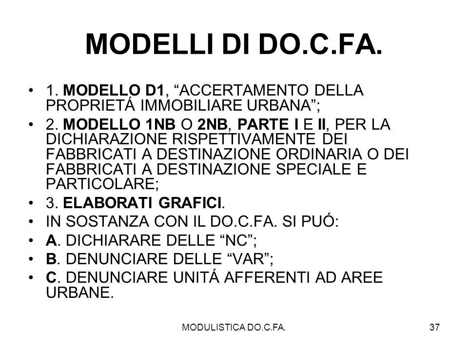 MODULISTICA DO.C.FA.37 MODELLI DI DO.C.FA. 1. MODELLO D1, ACCERTAMENTO DELLA PROPRIETÁ IMMOBILIARE URBANA; 2. MODELLO 1NB O 2NB, PARTE I E II, PER LA