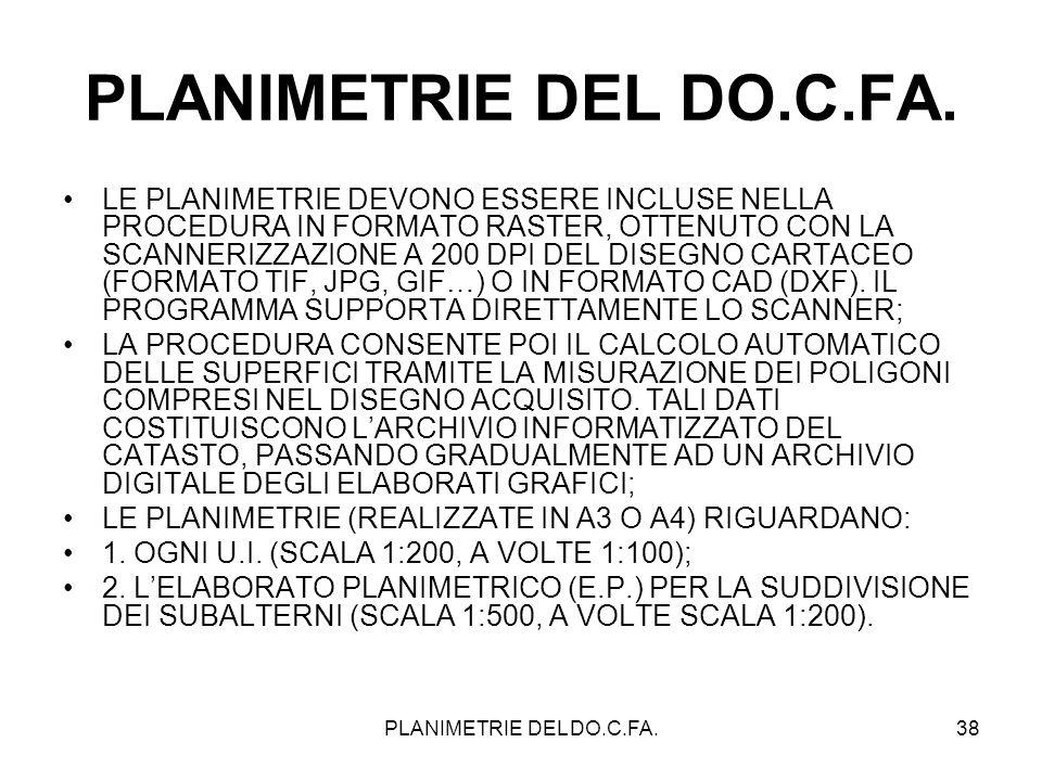 PLANIMETRIE DEL DO.C.FA.38 PLANIMETRIE DEL DO.C.FA. LE PLANIMETRIE DEVONO ESSERE INCLUSE NELLA PROCEDURA IN FORMATO RASTER, OTTENUTO CON LA SCANNERIZZ