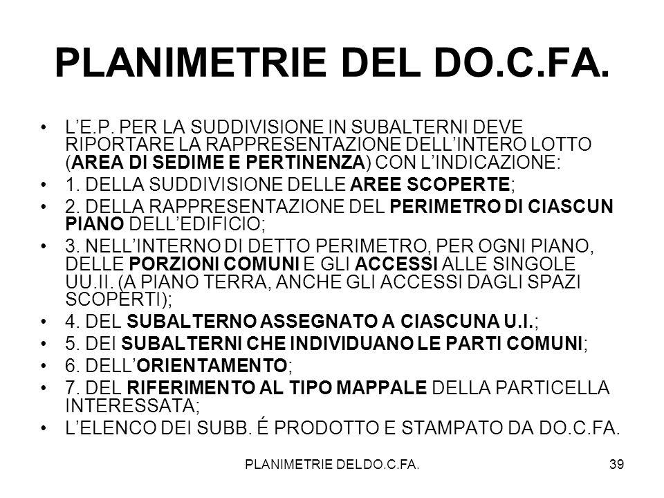 PLANIMETRIE DEL DO.C.FA.39 PLANIMETRIE DEL DO.C.FA. LE.P. PER LA SUDDIVISIONE IN SUBALTERNI DEVE RIPORTARE LA RAPPRESENTAZIONE DELLINTERO LOTTO (AREA