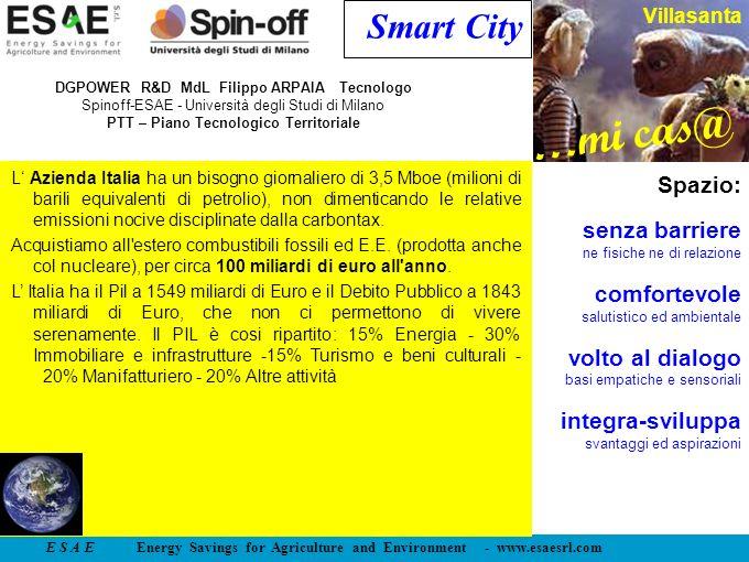 E S A E Energy Savings for Agriculture and Environment - www.esaesrl.com …mi cas@ Villasanta Smart City L Azienda Italia ha un bisogno giornaliero di