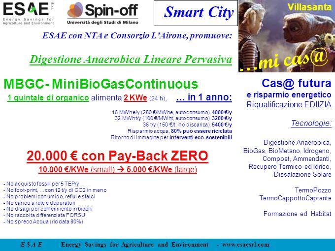 E S A E Energy Savings for Agriculture and Environment - www.esaesrl.com …mi cas@ Villasanta Smart City ESAE con NTA e Consorzio LAirone, promuove: Di