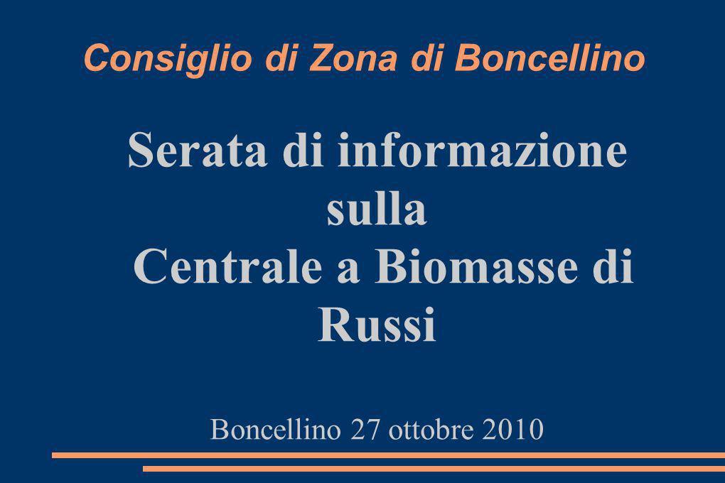 Consiglio di Zona di Boncellino Serata di informazione sulla Centrale a Biomasse di Russi Boncellino 27 ottobre 2010