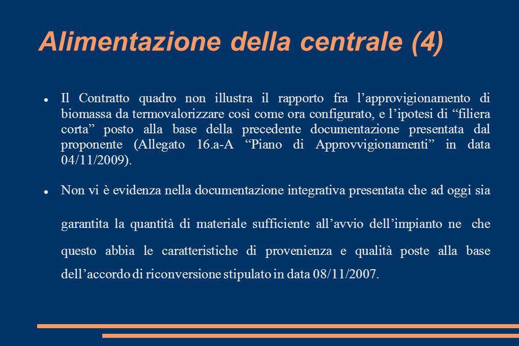 Alimentazione della centrale (4) Il Contratto quadro non illustra il rapporto fra lapprovigionamento di biomassa da termovalorizzare così come ora configurato, e lipotesi di filiera corta posto alla base della precedente documentazione presentata dal proponente (Allegato 16.a-A Piano di Approvvigionamenti in data 04/11/2009).
