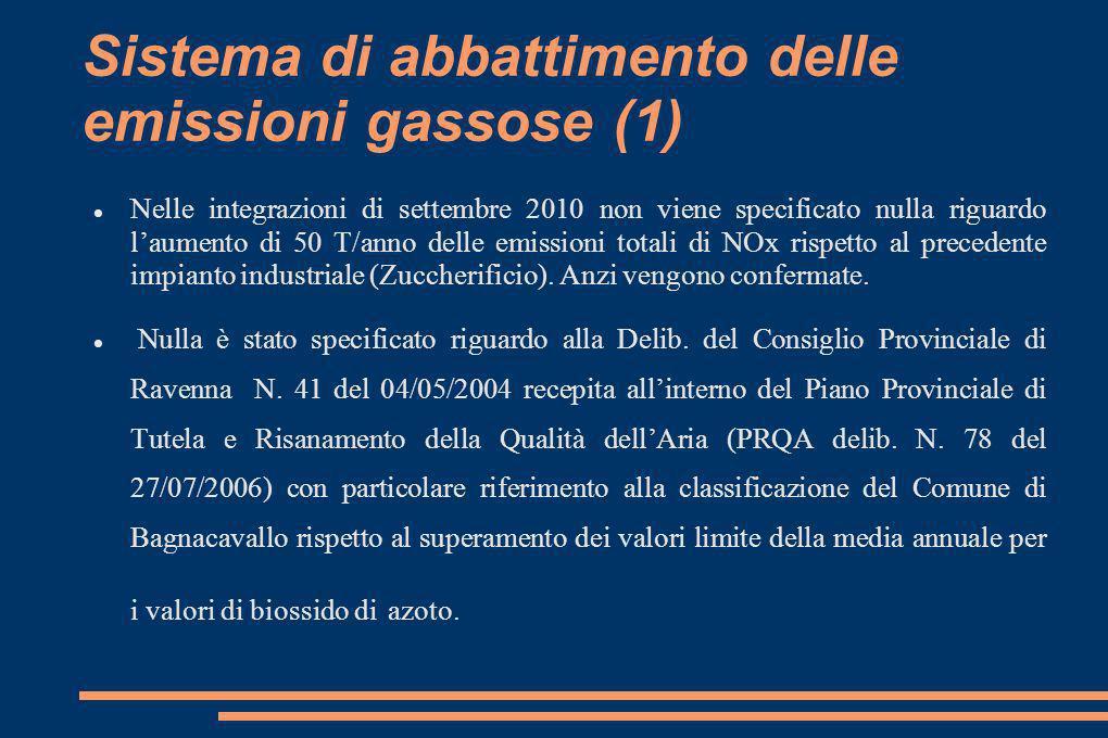 Sistema di abbattimento delle emissioni gassose (1) Nelle integrazioni di settembre 2010 non viene specificato nulla riguardo laumento di 50 T/anno delle emissioni totali di NOx rispetto al precedente impianto industriale (Zuccherificio).