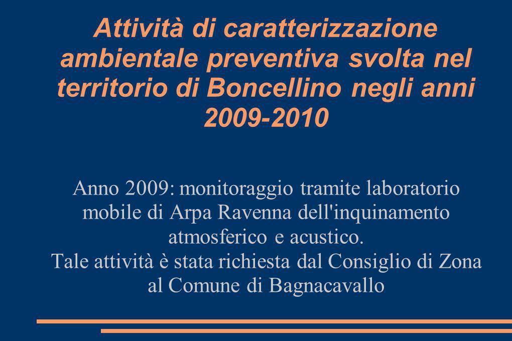 Attività di caratterizzazione ambientale preventiva svolta nel territorio di Boncellino negli anni 2009-2010 Anno 2009: monitoraggio tramite laboratorio mobile di Arpa Ravenna dell inquinamento atmosferico e acustico.