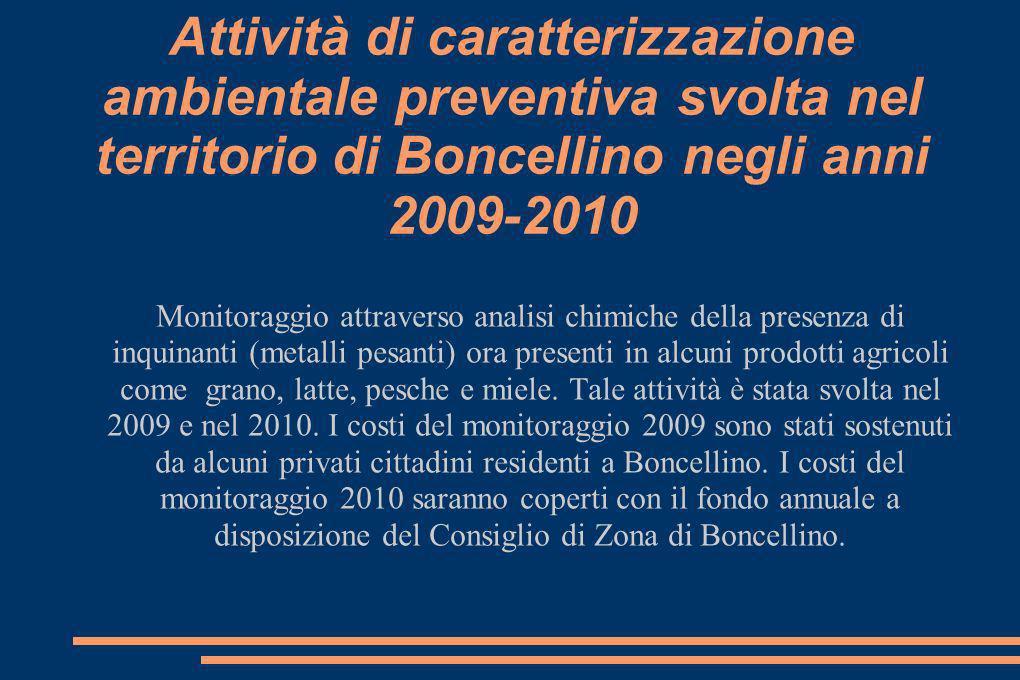 Attività di caratterizzazione ambientale preventiva svolta nel territorio di Boncellino negli anni 2009-2010 Monitoraggio attraverso analisi chimiche della presenza di inquinanti (metalli pesanti) ora presenti in alcuni prodotti agricoli come grano, latte, pesche e miele.