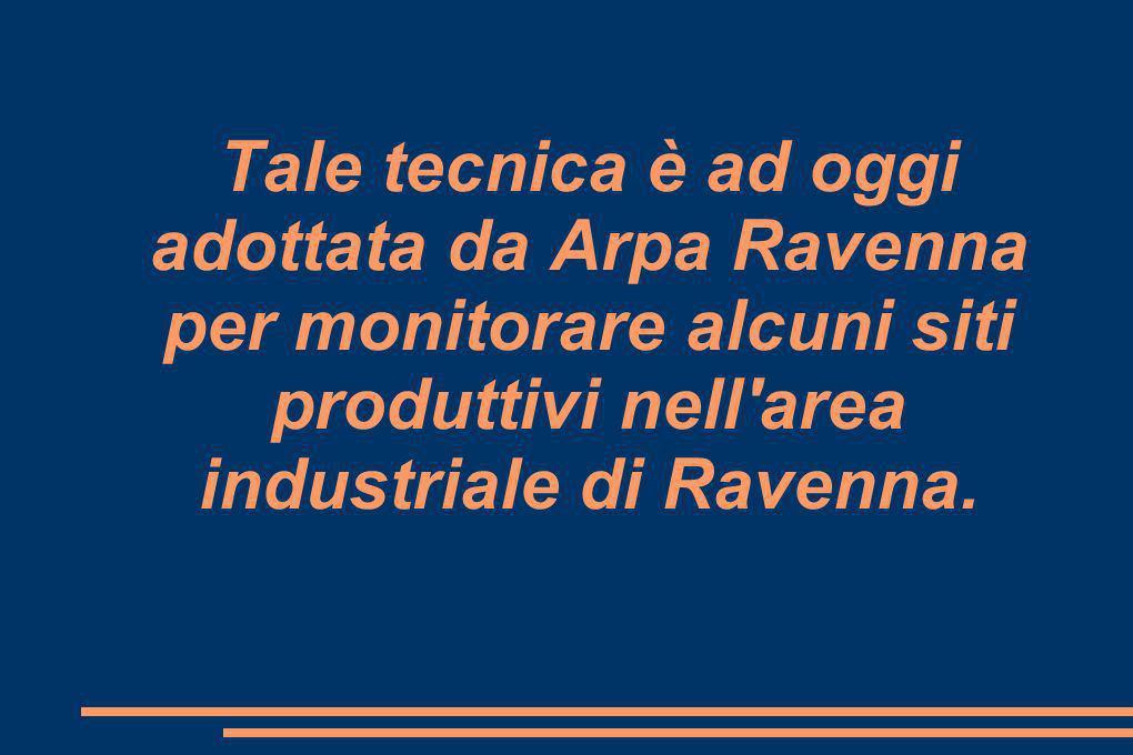 Tale tecnica è ad oggi adottata da Arpa Ravenna per monitorare alcuni siti produttivi nell area industriale di Ravenna.