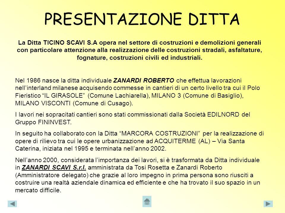 Considerate le richieste del mercato nellanno 2001 la Ditta Zanardi Scavi si è occupata prevalentemente di costruzioni di aree logistiche per la Multinazionale G.S.E ITALIA.