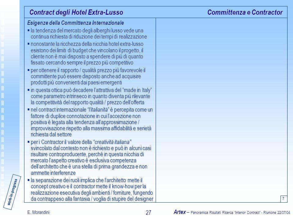 E. Morandini Artex – Panoramica Risultati Ricerca Interior Contract - Riunione 22/07/04 27 Contract degli Hotel Extra-Lusso Esigenze della Committenza