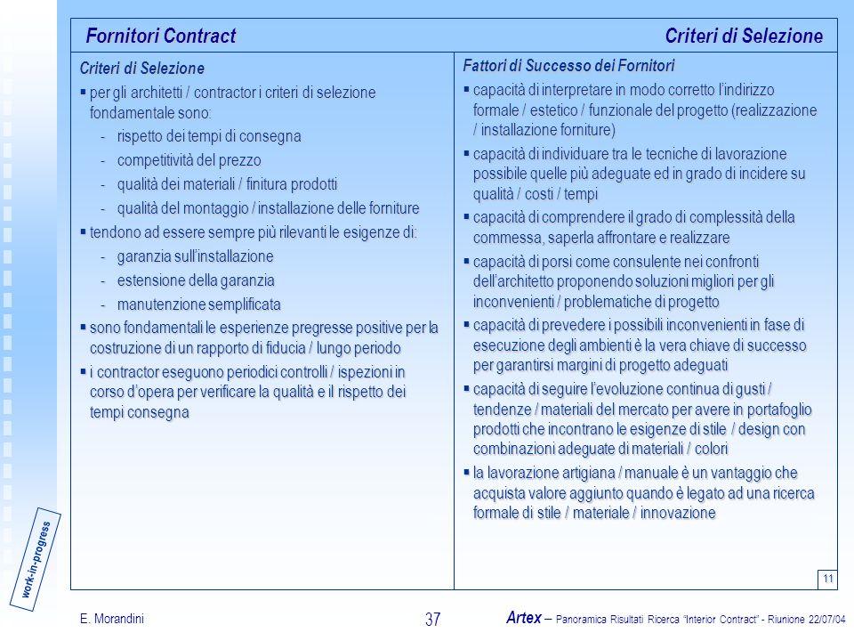 E. Morandini Artex – Panoramica Risultati Ricerca Interior Contract - Riunione 22/07/04 37 Fornitori Contract 11 Criteri di Selezione per gli architet