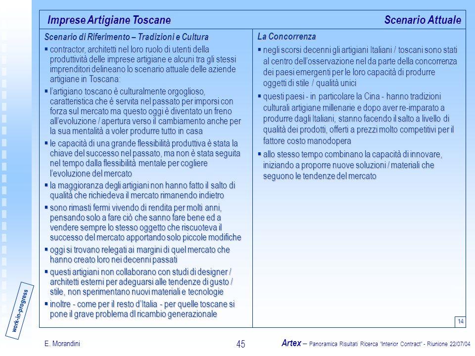 E. Morandini Artex – Panoramica Risultati Ricerca Interior Contract - Riunione 22/07/04 45 Imprese Artigiane Toscane 14 Scenario Attuale Scenario di R