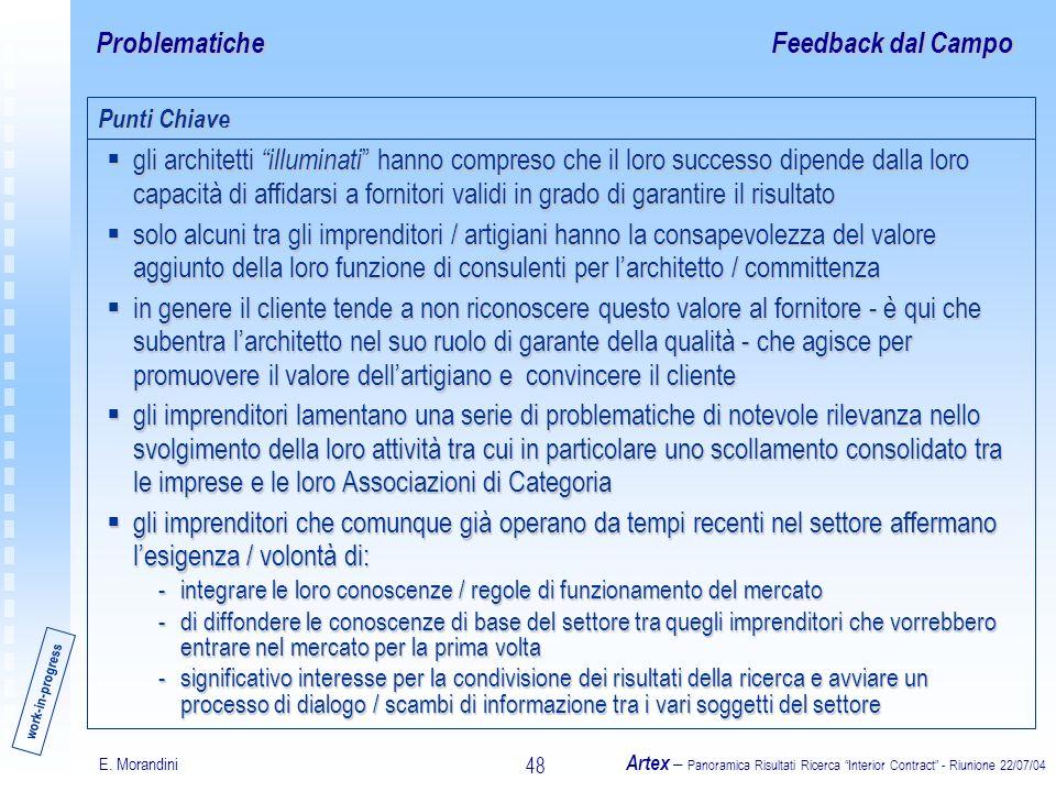 E. Morandini Artex – Panoramica Risultati Ricerca Interior Contract - Riunione 22/07/04 48 Problematiche gli architetti illuminati hanno compreso che