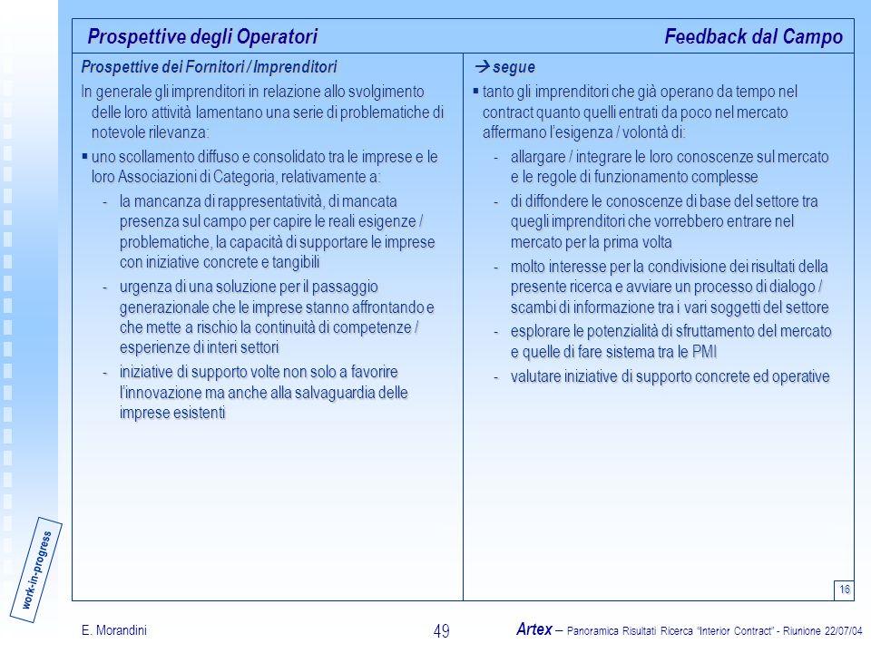 E. Morandini Artex – Panoramica Risultati Ricerca Interior Contract - Riunione 22/07/04 49 Prospettive degli Operatori 16 Feedback dal Campo segue seg