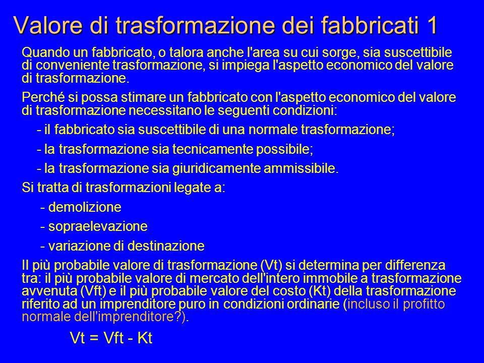 Valore di trasformazione dei fabbricati 1 Quando un fabbricato, o talora anche l area su cui sorge, sia suscettibile di conveniente trasformazione, si impiega l aspetto economico del valore di trasformazione.