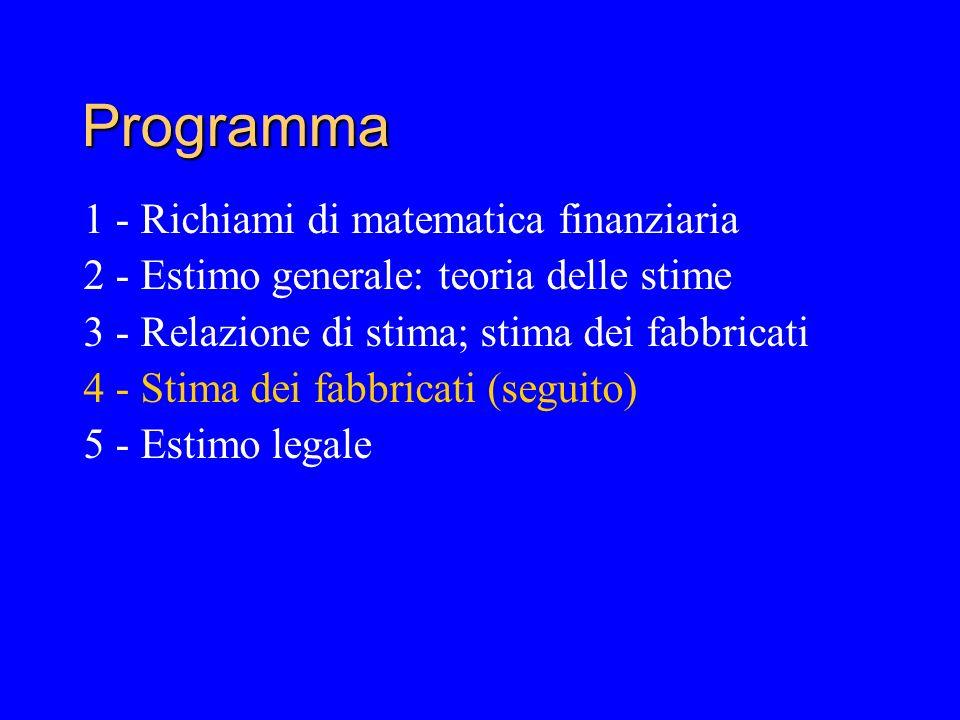 Programma 1 - Richiami di matematica finanziaria 2 - Estimo generale: teoria delle stime 3 - Relazione di stima; stima dei fabbricati 4 - Stima dei fabbricati (seguito) 5 - Estimo legale