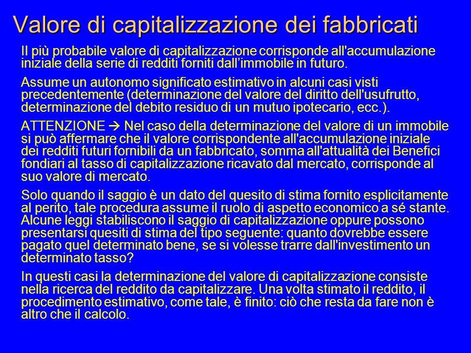 Valore di capitalizzazione dei fabbricati Il più probabile valore di capitalizzazione corrisponde all accumulazione iniziale della serie di redditi forniti dallimmobile in futuro.