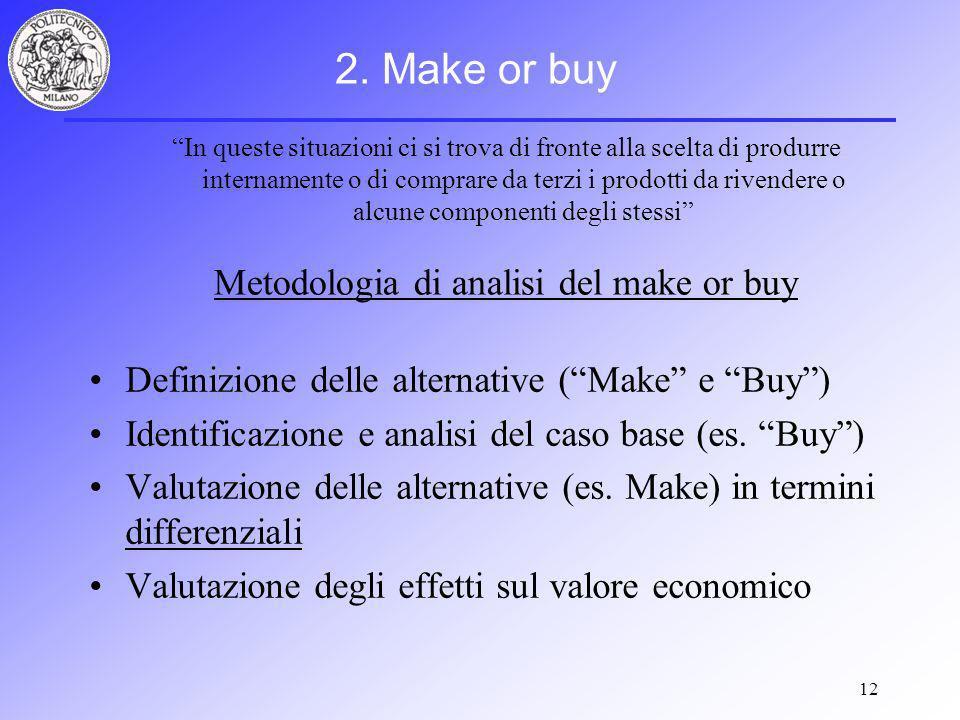 12 Definizione delle alternative (Make e Buy) Identificazione e analisi del caso base (es.