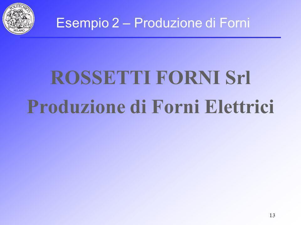 13 Esempio 2 – Produzione di Forni ROSSETTI FORNI Srl Produzione di Forni Elettrici