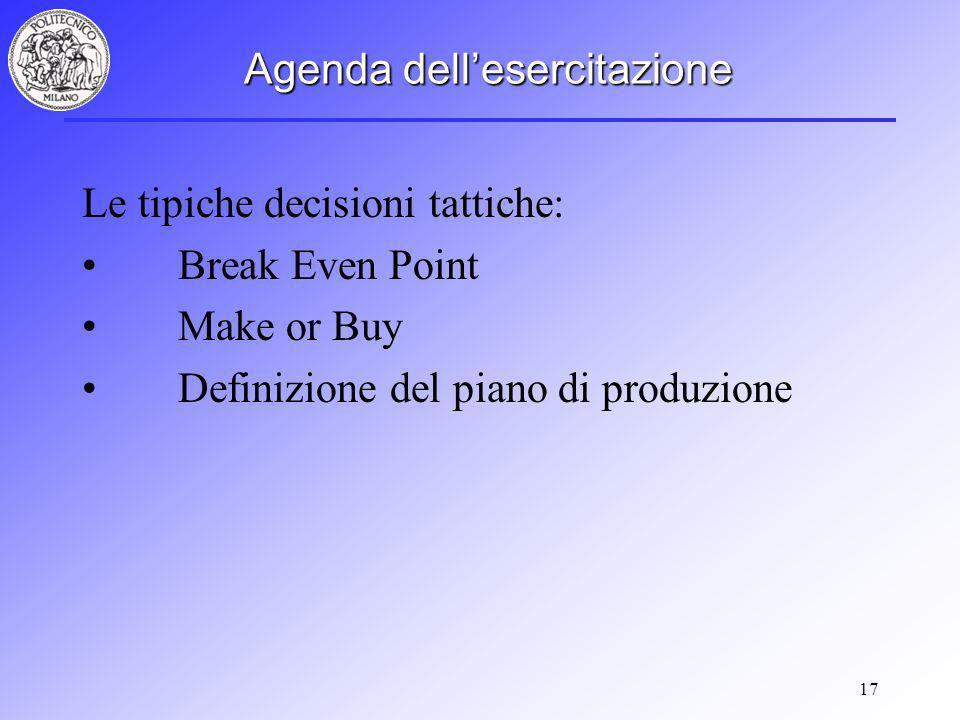 17 Agenda dellesercitazione Le tipiche decisioni tattiche: Break Even Point Make or Buy Definizione del piano di produzione