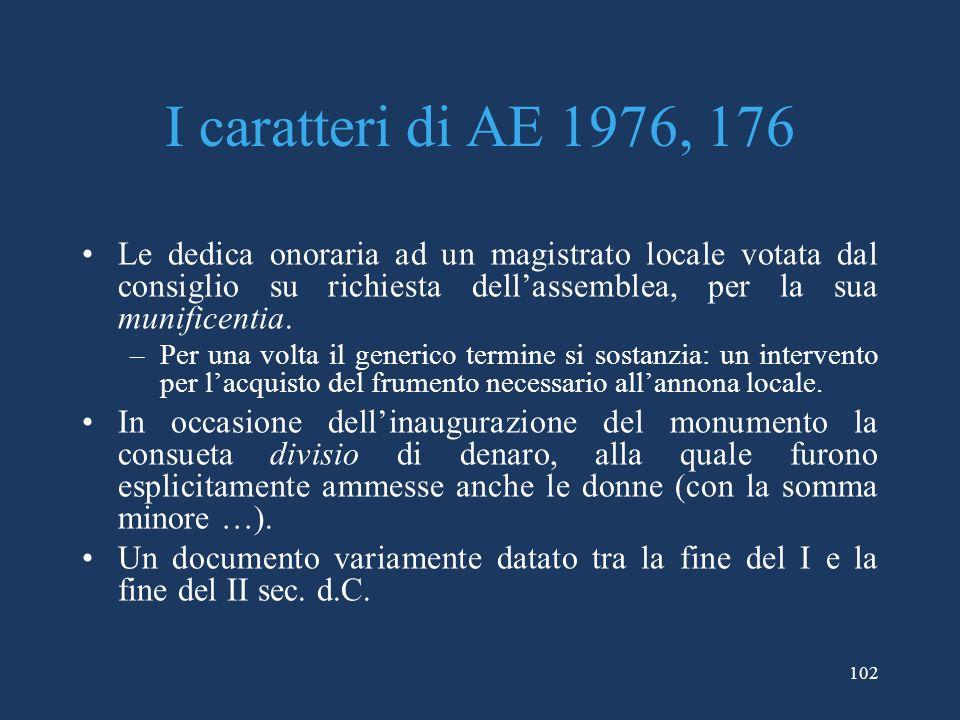 I caratteri di AE 1976, 176 Le dedica onoraria ad un magistrato locale votata dal consiglio su richiesta dellassemblea, per la sua munificentia.