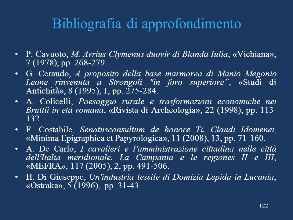 Bibliografia di approfondimento P.Cavuoto, M.