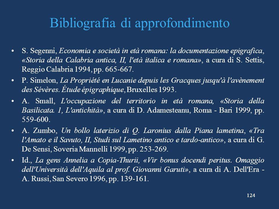 124 Bibliografia di approfondimento S.
