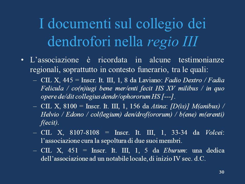 30 I documenti sul collegio dei dendrofori nella regio III Lassociazione è ricordata in alcune testimonianze regionali, soprattutto in contesto funerario, tra le quali: –CIL X, 445 = Inscr.
