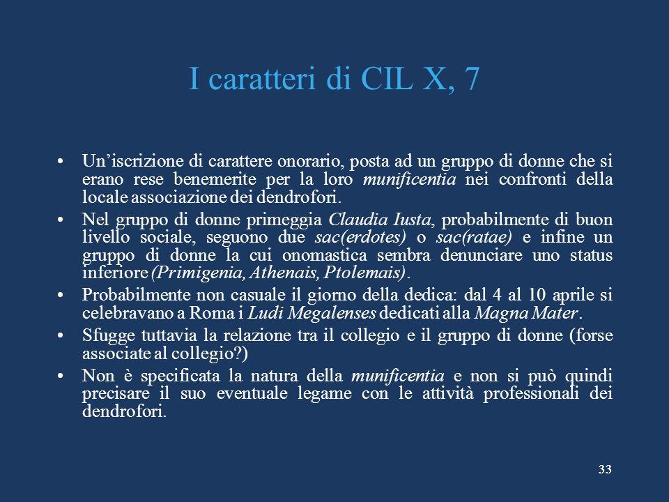 33 I caratteri di CIL X, 7 Uniscrizione di carattere onorario, posta ad un gruppo di donne che si erano rese benemerite per la loro munificentia nei confronti della locale associazione dei dendrofori.