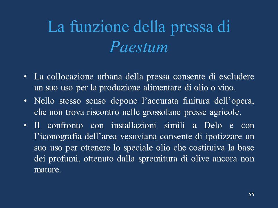 55 La funzione della pressa di Paestum La collocazione urbana della pressa consente di escludere un suo uso per la produzione alimentare di olio o vino.