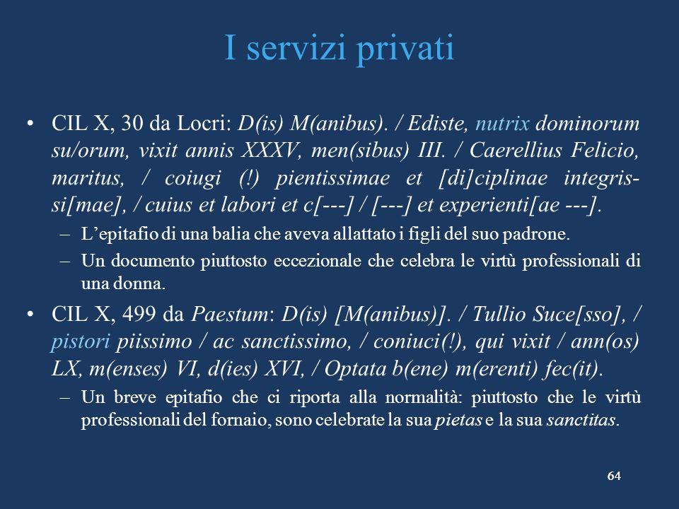 64 I servizi privati CIL X, 30 da Locri: D(is) M(anibus).