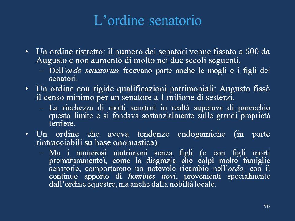 Lordine senatorio Un ordine ristretto: il numero dei senatori venne fissato a 600 da Augusto e non aumentò di molto nei due secoli seguenti.