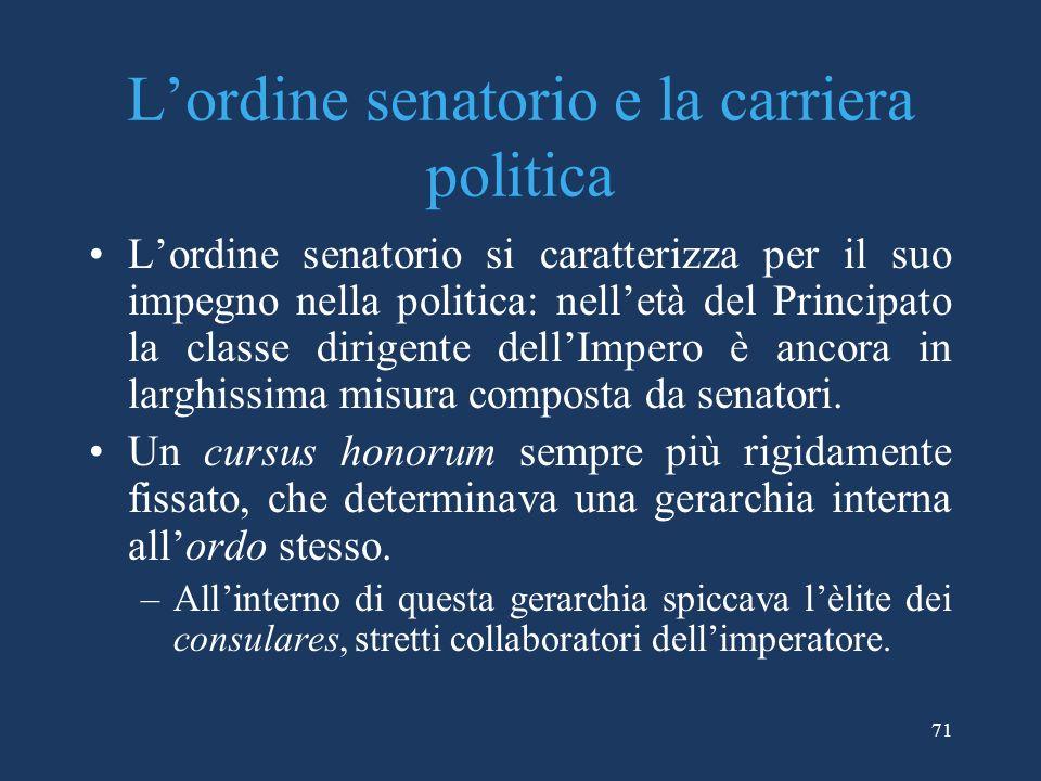 Lordine senatorio e la carriera politica Lordine senatorio si caratterizza per il suo impegno nella politica: nelletà del Principato la classe dirigente dellImpero è ancora in larghissima misura composta da senatori.