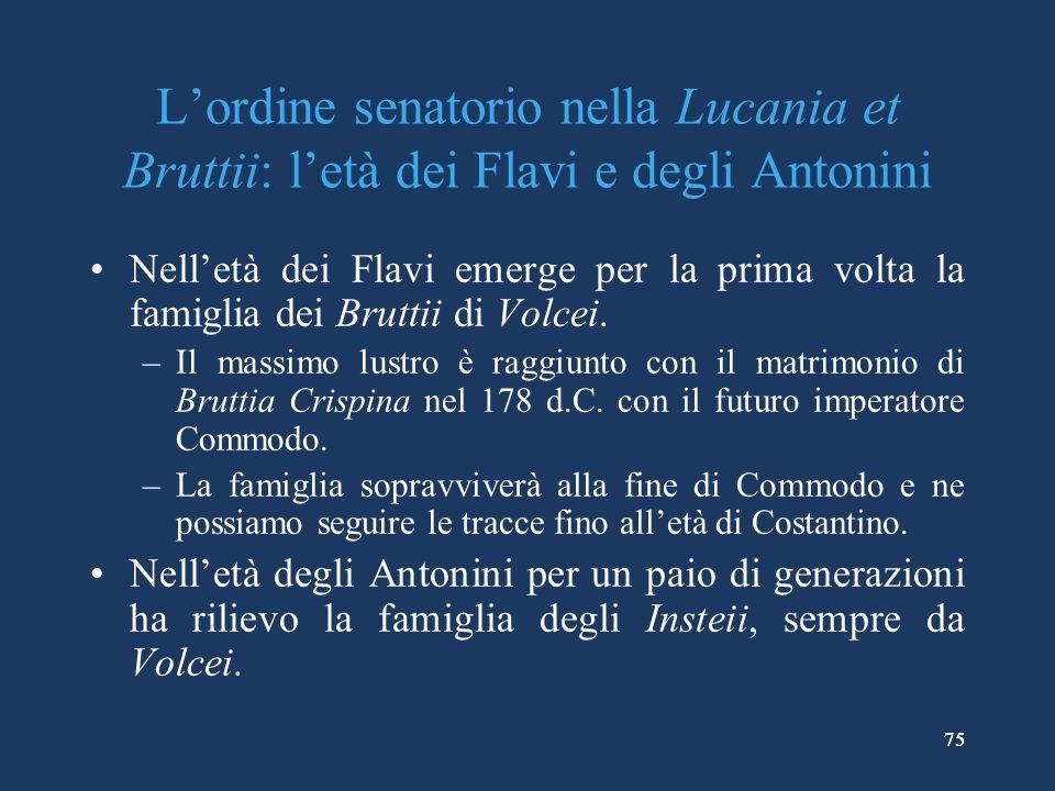 75 Lordine senatorio nella Lucania et Bruttii: letà dei Flavi e degli Antonini Nelletà dei Flavi emerge per la prima volta la famiglia dei Bruttii di Volcei.