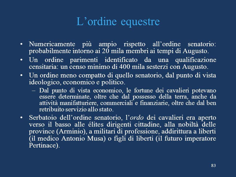 Lordine equestre Numericamente più ampio rispetto allordine senatorio: probabilmente intorno ai 20 mila membri ai tempi di Augusto.