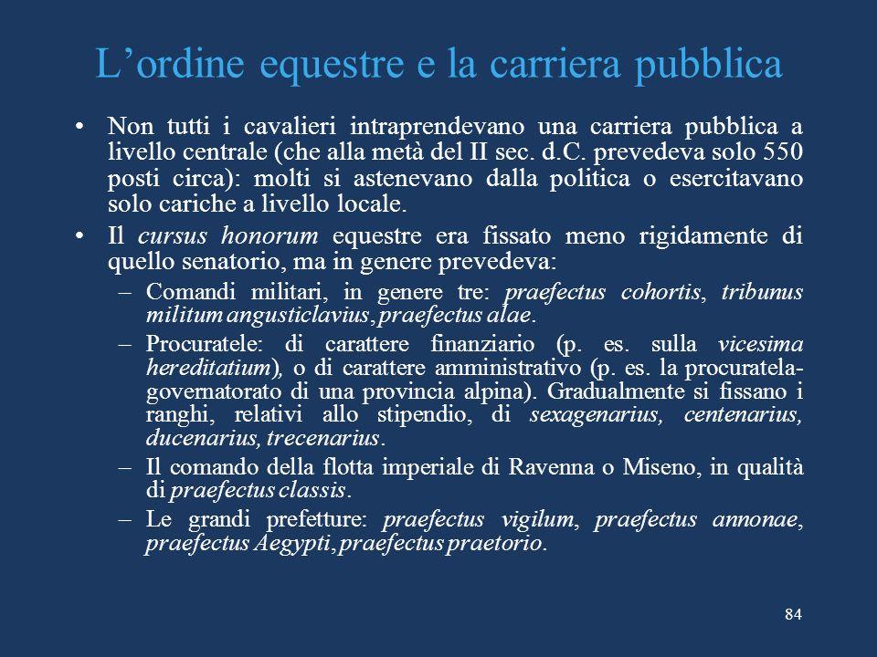 Lordine equestre e la carriera pubblica Non tutti i cavalieri intraprendevano una carriera pubblica a livello centrale (che alla metà del II sec.