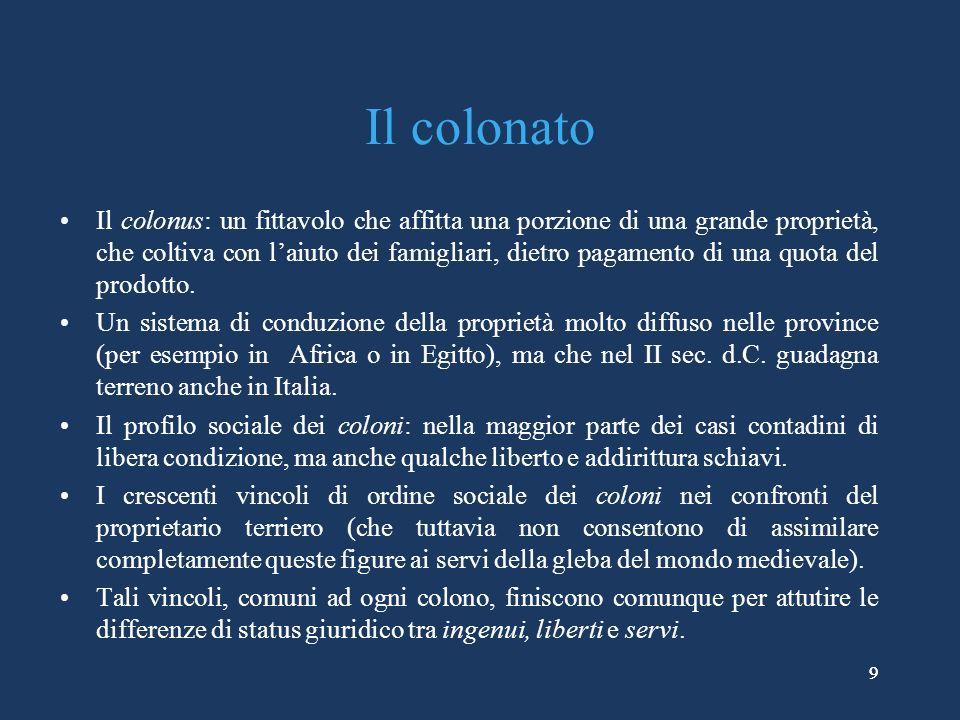 9 Il colonato Il colonus: un fittavolo che affitta una porzione di una grande proprietà, che coltiva con laiuto dei famigliari, dietro pagamento di una quota del prodotto.