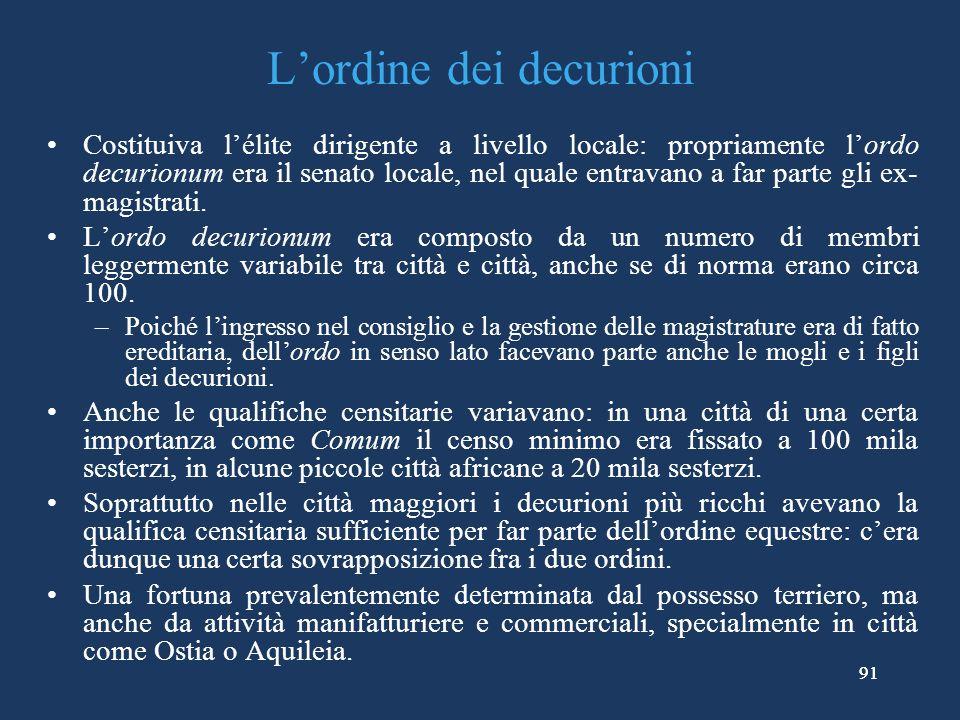 91 Lordine dei decurioni Costituiva lélite dirigente a livello locale: propriamente lordo decurionum era il senato locale, nel quale entravano a far parte gli ex- magistrati.