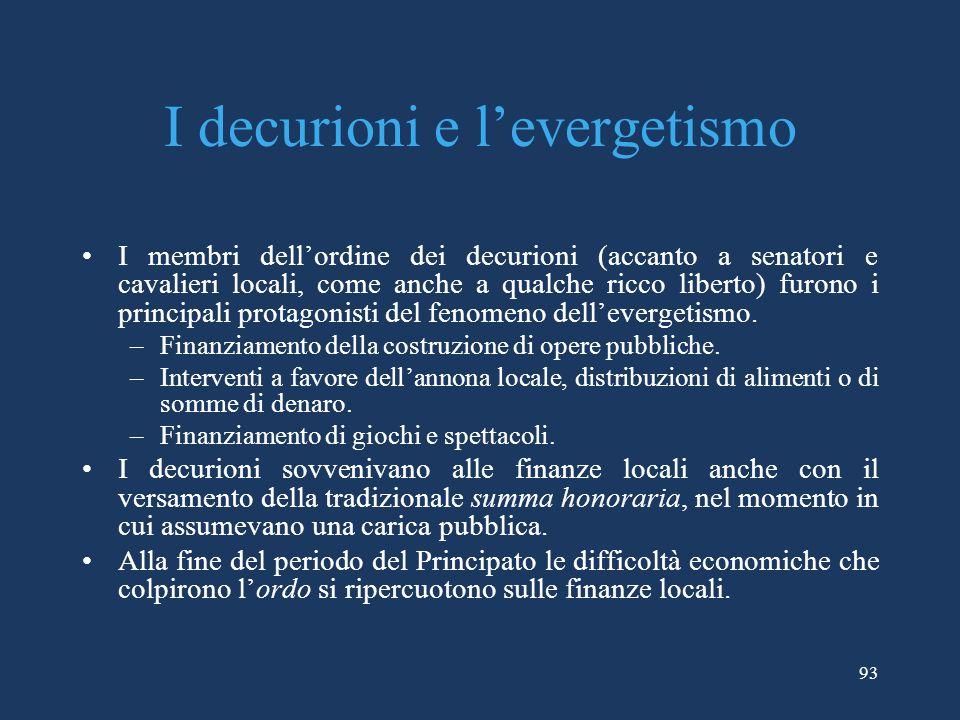 I decurioni e levergetismo I membri dellordine dei decurioni (accanto a senatori e cavalieri locali, come anche a qualche ricco liberto) furono i principali protagonisti del fenomeno dellevergetismo.