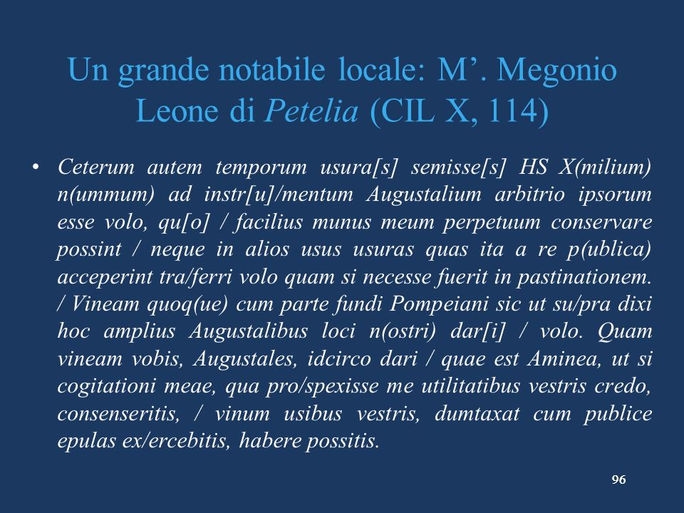 96 Un grande notabile locale: M.
