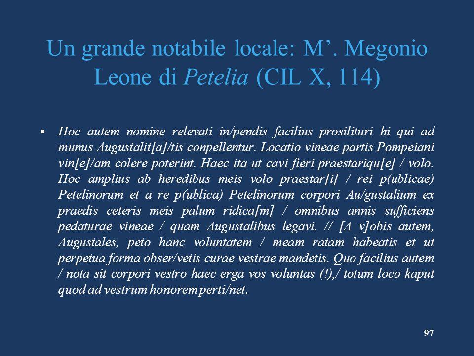 97 Un grande notabile locale: M.