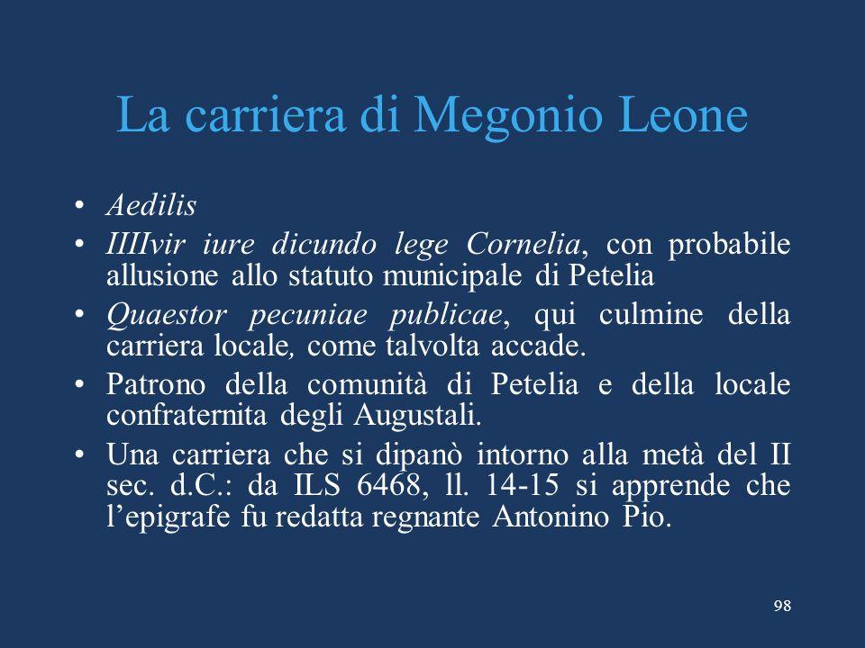 La carriera di Megonio Leone Aedilis IIIIvir iure dicundo lege Cornelia, con probabile allusione allo statuto municipale di Petelia Quaestor pecuniae publicae, qui culmine della carriera locale, come talvolta accade.