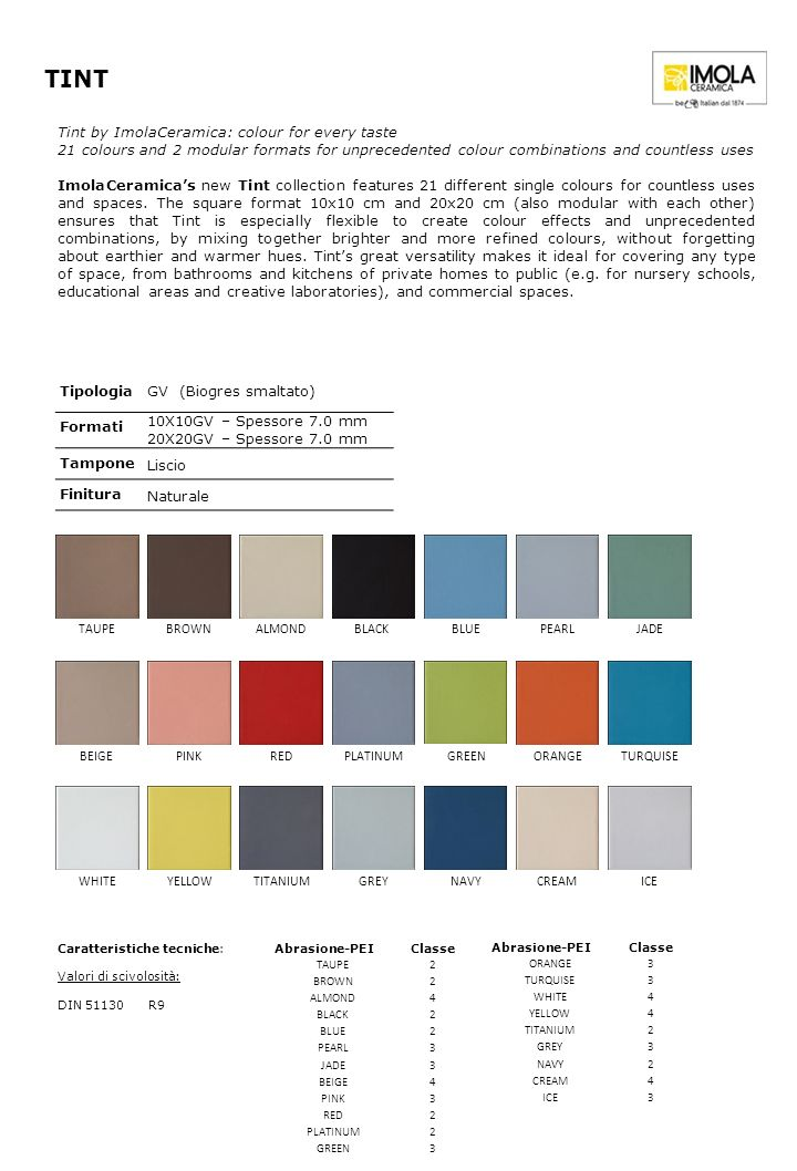 TINT TipologiaGV (Biogres smaltato) Formati 10X10GV – Spessore 7.0 mm 20X20GV – Spessore 7.0 mm Tampone Liscio Finitura Naturale Abrasione-PEIClasse TAUPE2 BROWN2 ALMOND4 BLACK2 BLUE2 PEARL3 JADE3 BEIGE4 PINK3 RED2 PLATINUM2 GREEN3 Tint by ImolaCeramica: colour for every taste 21 colours and 2 modular formats for unprecedented colour combinations and countless uses ImolaCeramicas new Tint collection features 21 different single colours for countless uses and spaces.