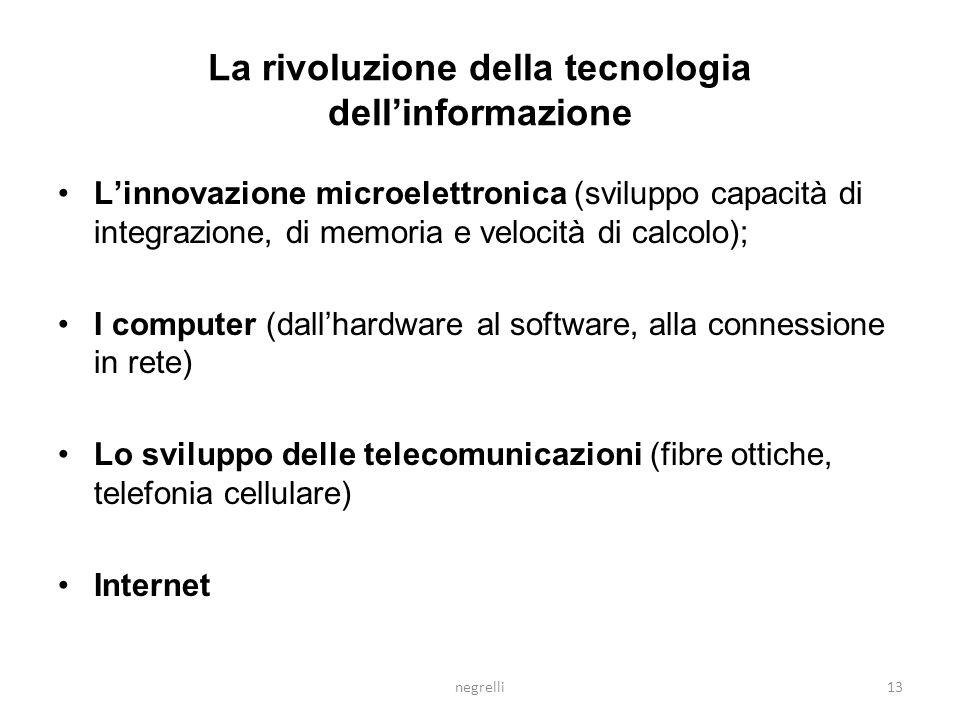 negrelli12 IL CONTESTO DEL CAMBIAMENTO La rivoluzione della tecnologia dellinformazione La nuova economia globale La nuova organizzazione a rete delli