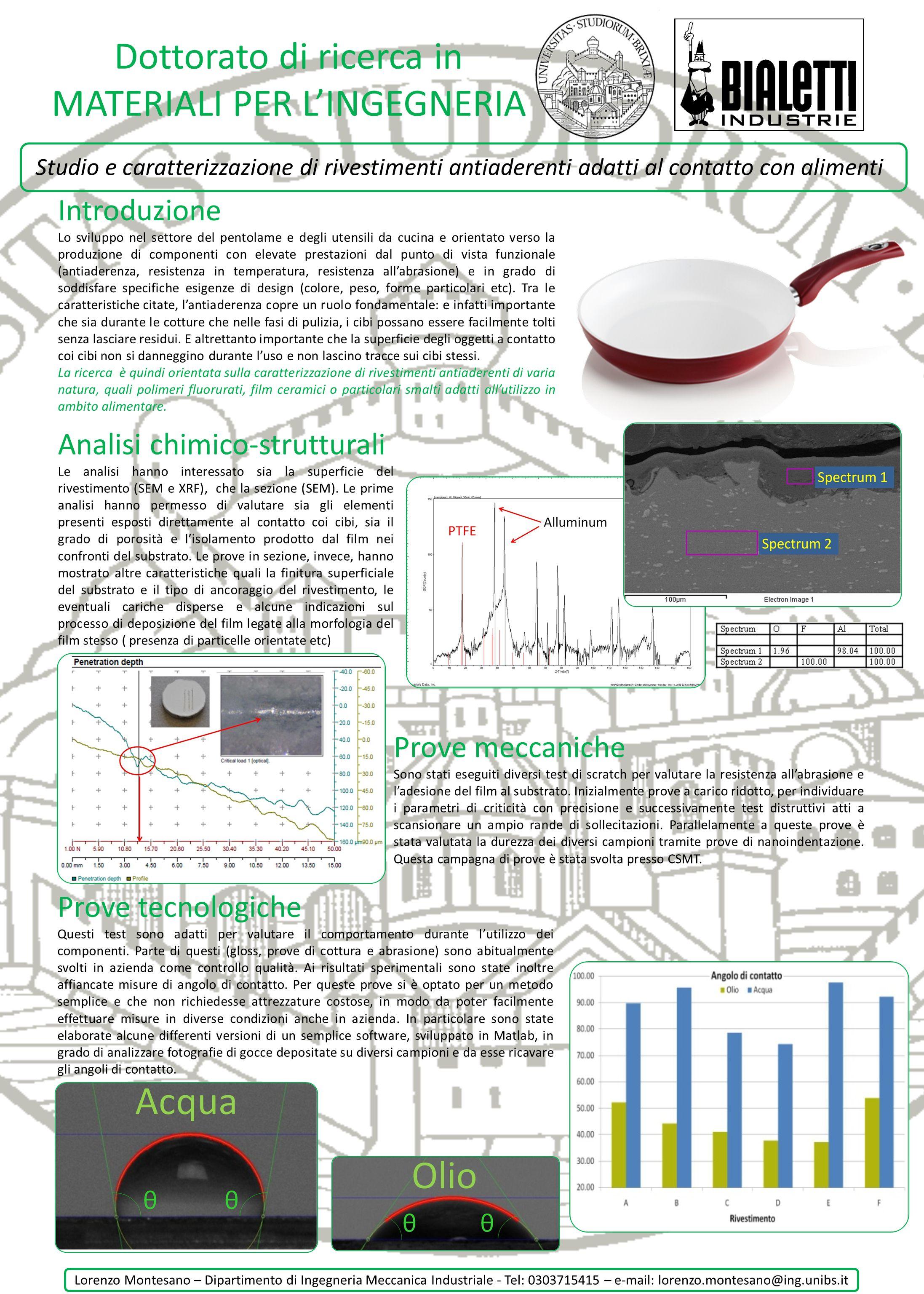 Dottorato di ricerca in MATERIALI PER LINGEGNERIA Studio e caratterizzazione di rivestimenti antiaderenti adatti al contatto con alimenti Introduzione