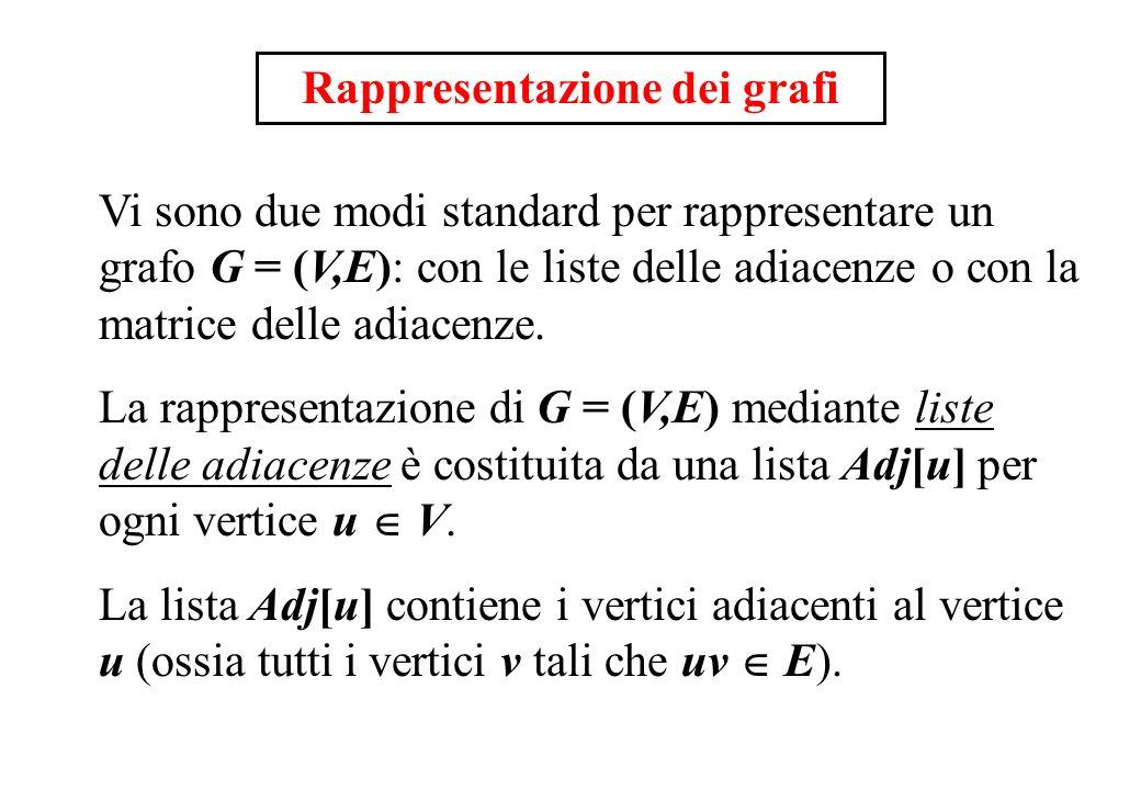 Rappresentazione dei grafi Vi sono due modi standard per rappresentare un grafo G = (V,E): con le liste delle adiacenze o con la matrice delle adiacen